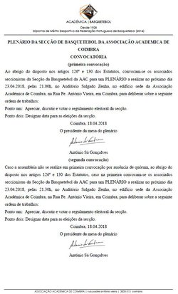 PLENÁRIOS DA SECÇÃO DE BASQUETEBOL   SEGUNDA-FEIRA, 23 DE ABRIL DE 2018