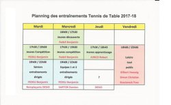 Association Sportive Maximoise de Tennis de Table, planning entraînements