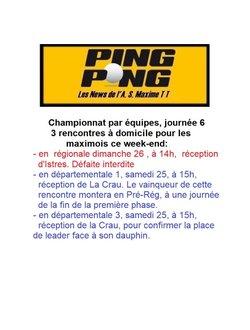 Sainte-Maxime Tennis de Table - 3 rencontres à domicile