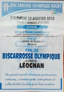 CHAMPIONNAT DE FRANCE HONNEUR - DIMANCHE 21 JANVIER 2018 - DÉCOUVREZ LE MENU