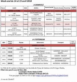 Planning 14-15 Avril 2018
