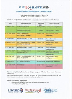 CALENDRIER CD24 2016/2017
