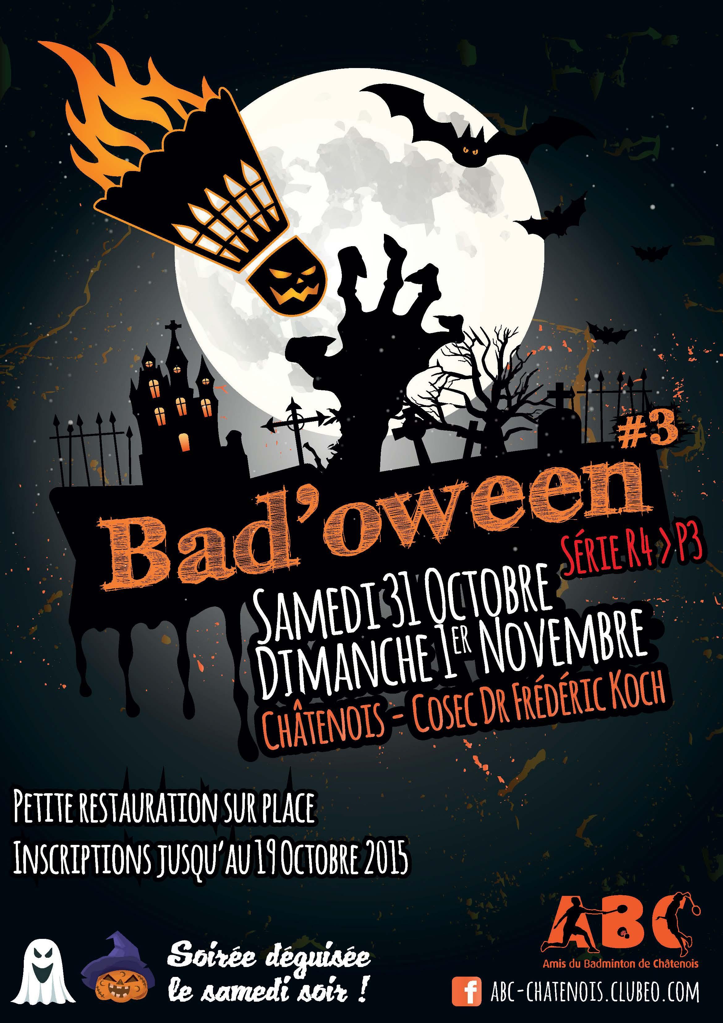 Affiche du tournoi Bad'oween