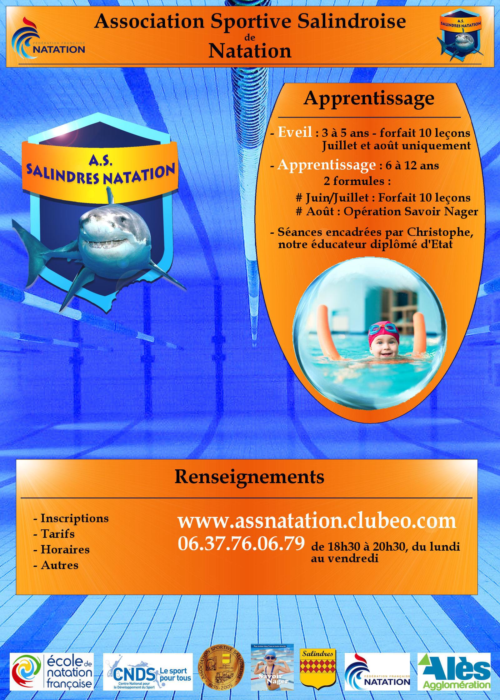 Actualit affiche publicitaire assn 2014 club natation for Piscine salindres