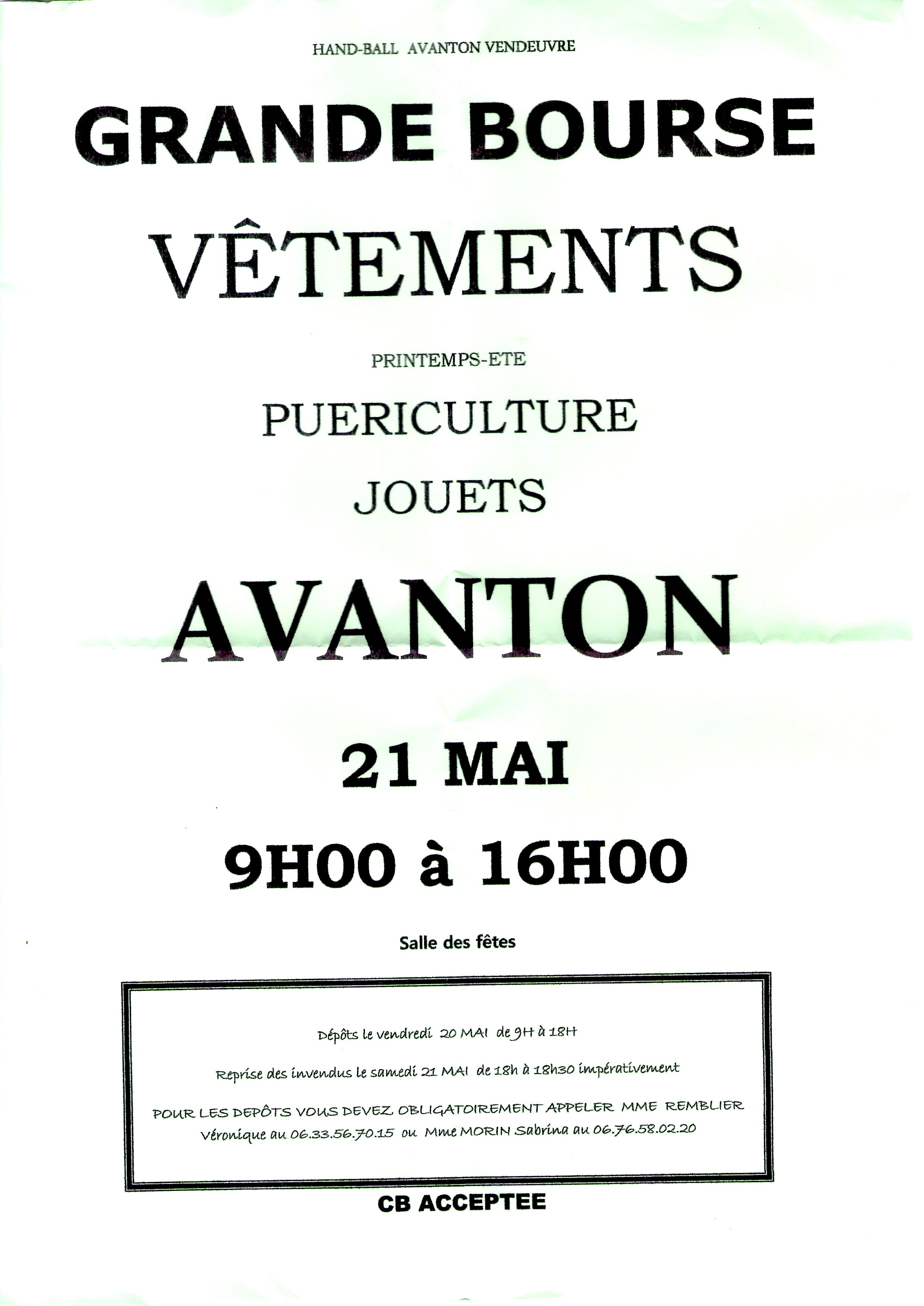 Bourse aux vêtements 21 mai 2016 Avanton