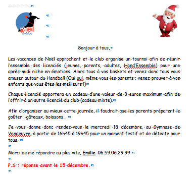 Flyer tournoi de Noël 2013