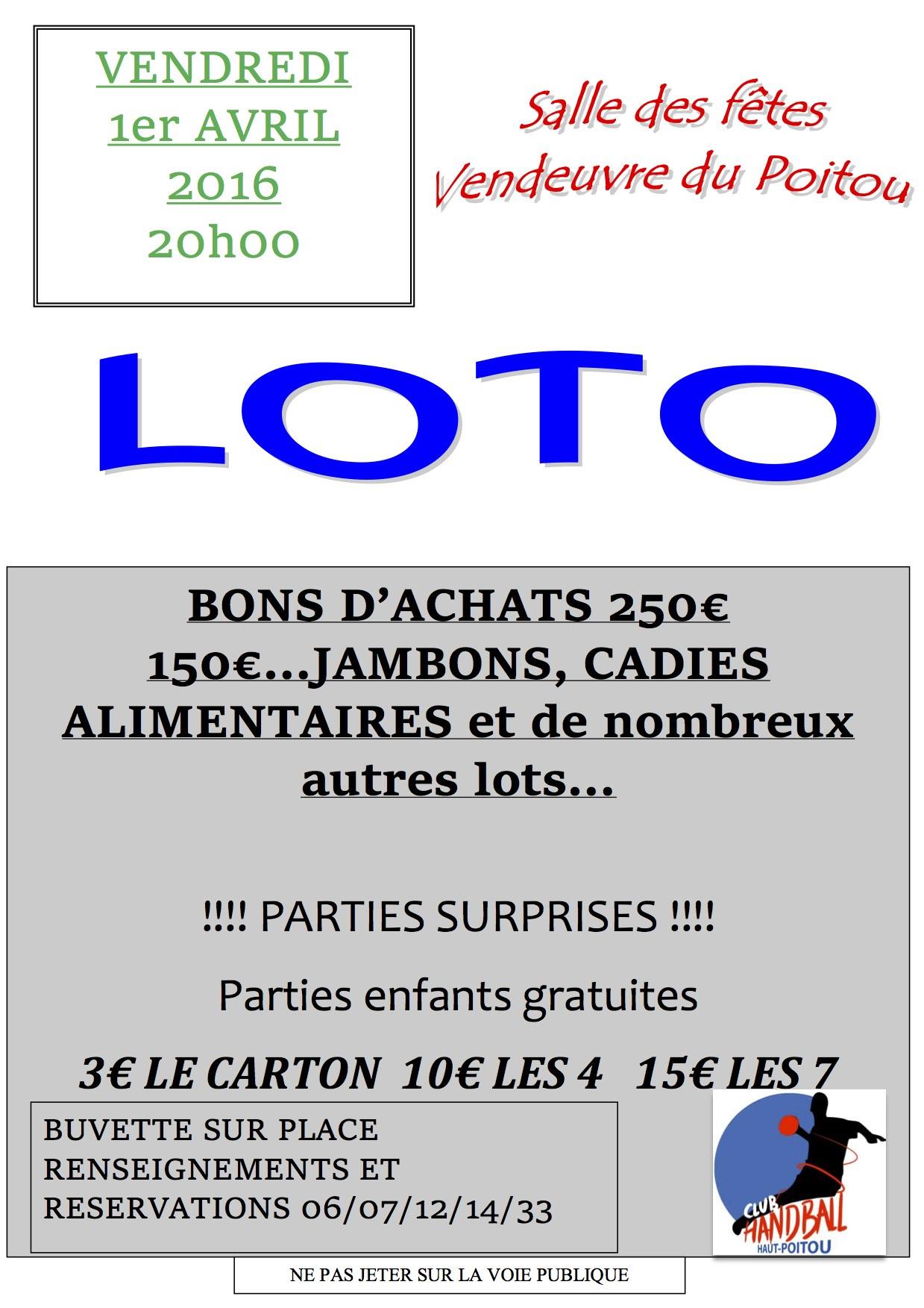 Affiche loto CHHP 1 avril 2016 Vendeuvre