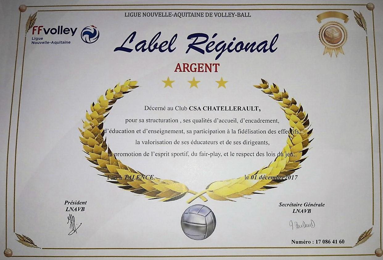 Médaille d'argent label régional 2017