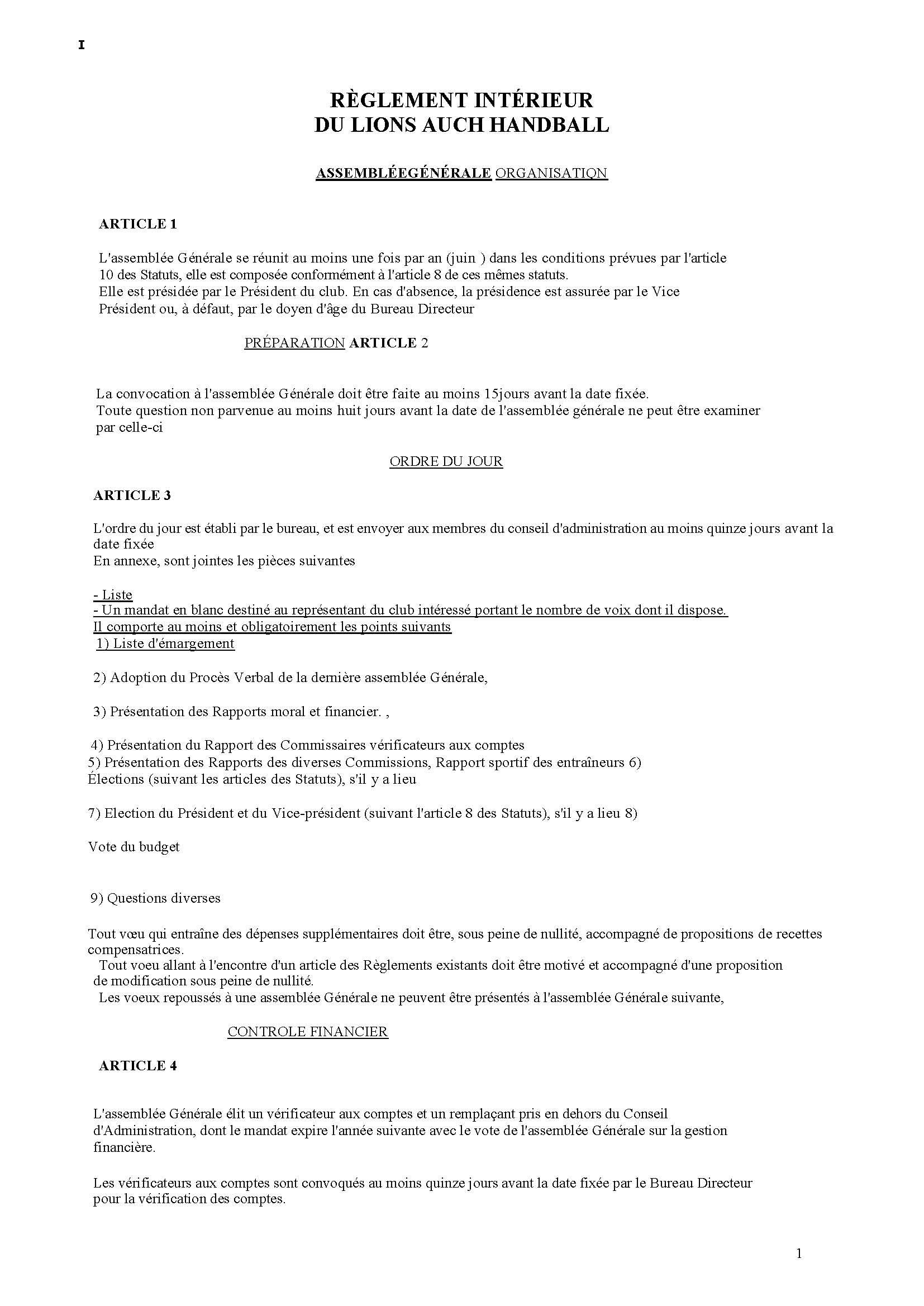 R glement interieur club handball lions auch handball for Le reglement interieur