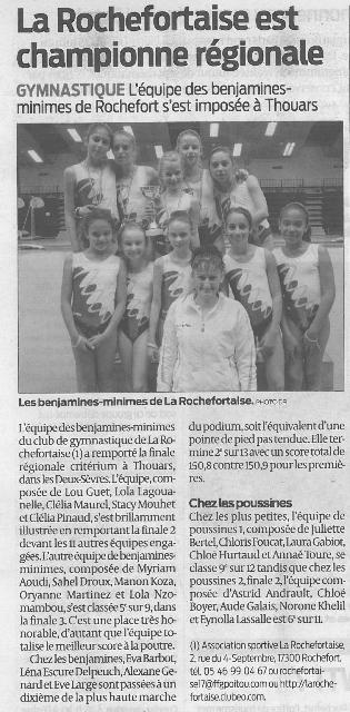 La Rochefortaise est championne régionale
