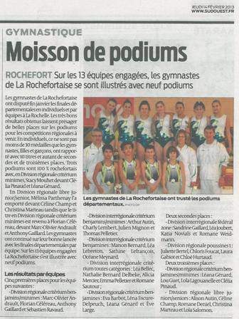 Sud-Ouest_14-02-2013_Moisson de podiums