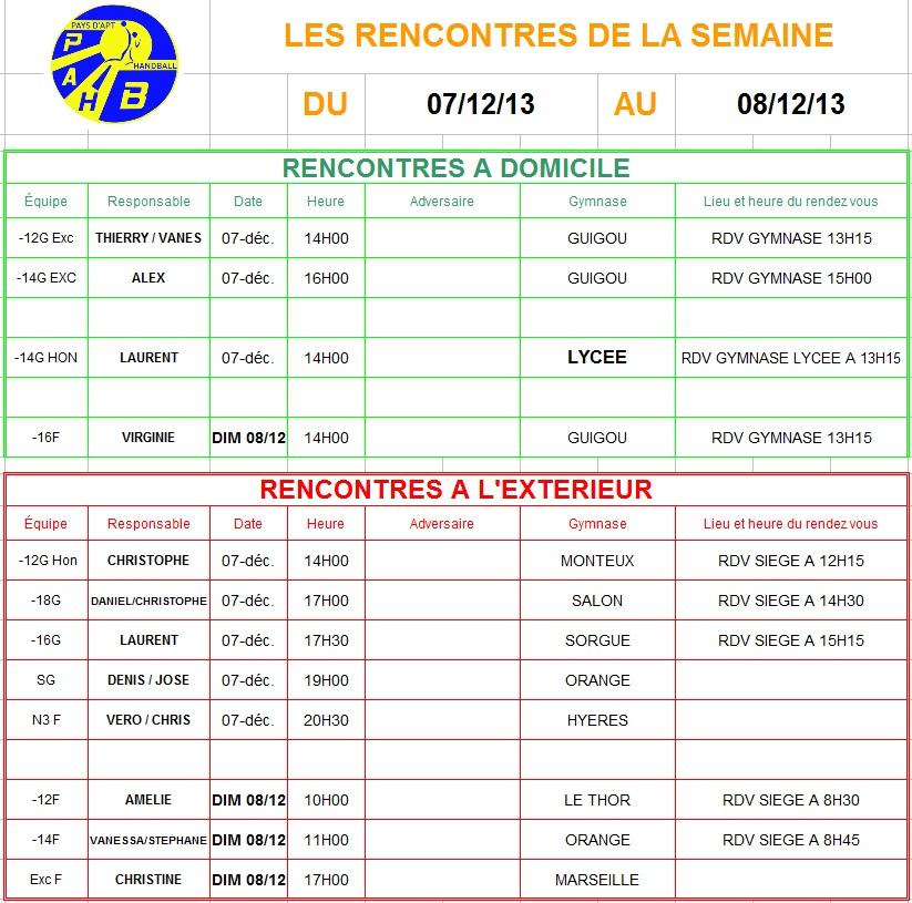 Planning du 07 et 08 Décembre 2013