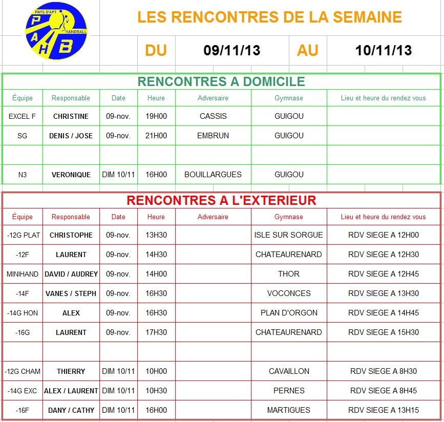 Planning week-end du 09 et 10 Novembre 2013