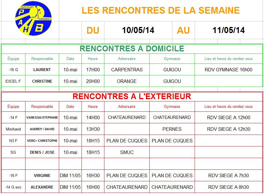 Planning week-end du 10 et 11 Mai 2014