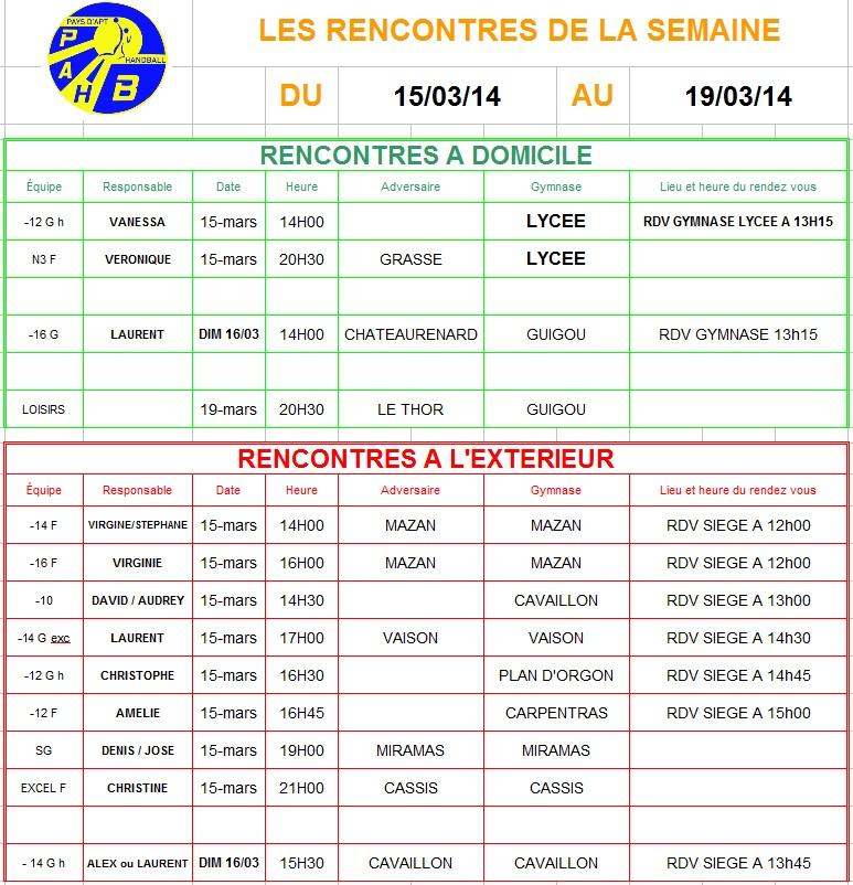 Planning week-end du 15 et 16 Mars 2014