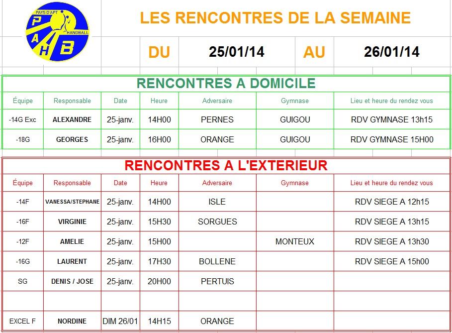 Planning week-end du 25 et 26 Janvier 2014