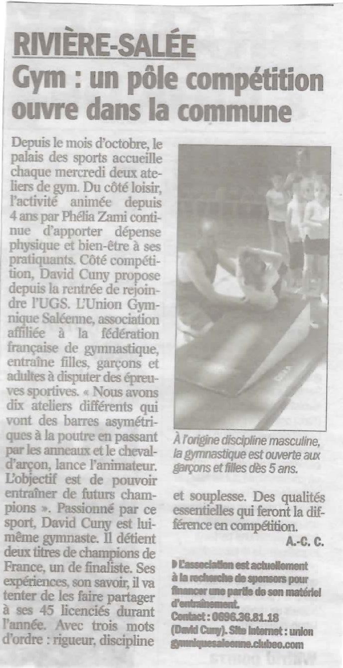 Parution article presse création gymnastique UGS