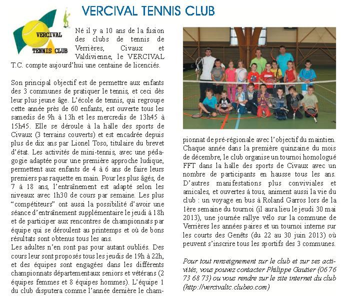 Article pour bulletin municipal Valdivienne Janvier 2013