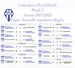 CALENDRIER DES OPPOSITIONS - SAISON 2021/2022 PRE FEDERALE POULE 3