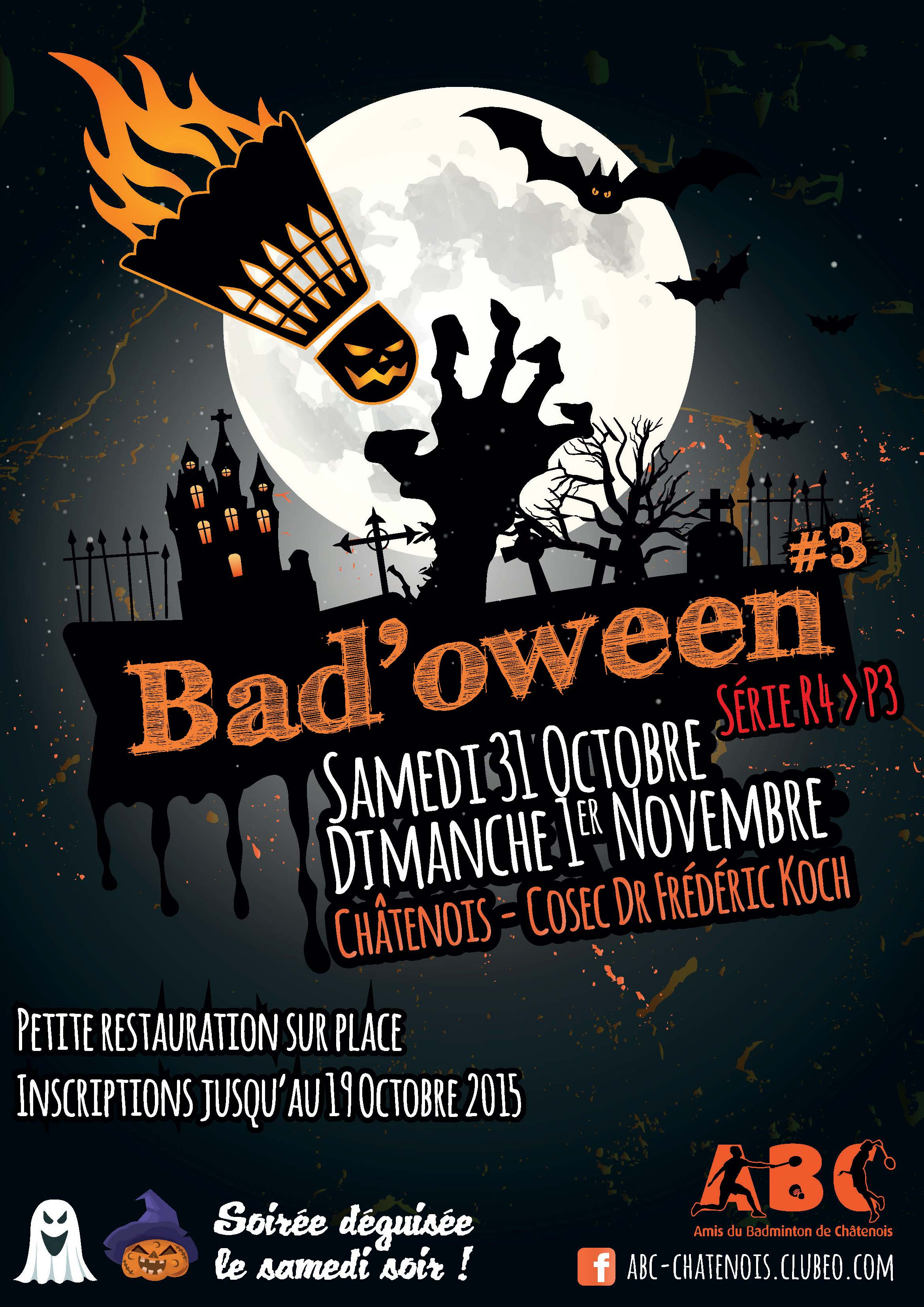 Affiche du tournoi Bad'oween