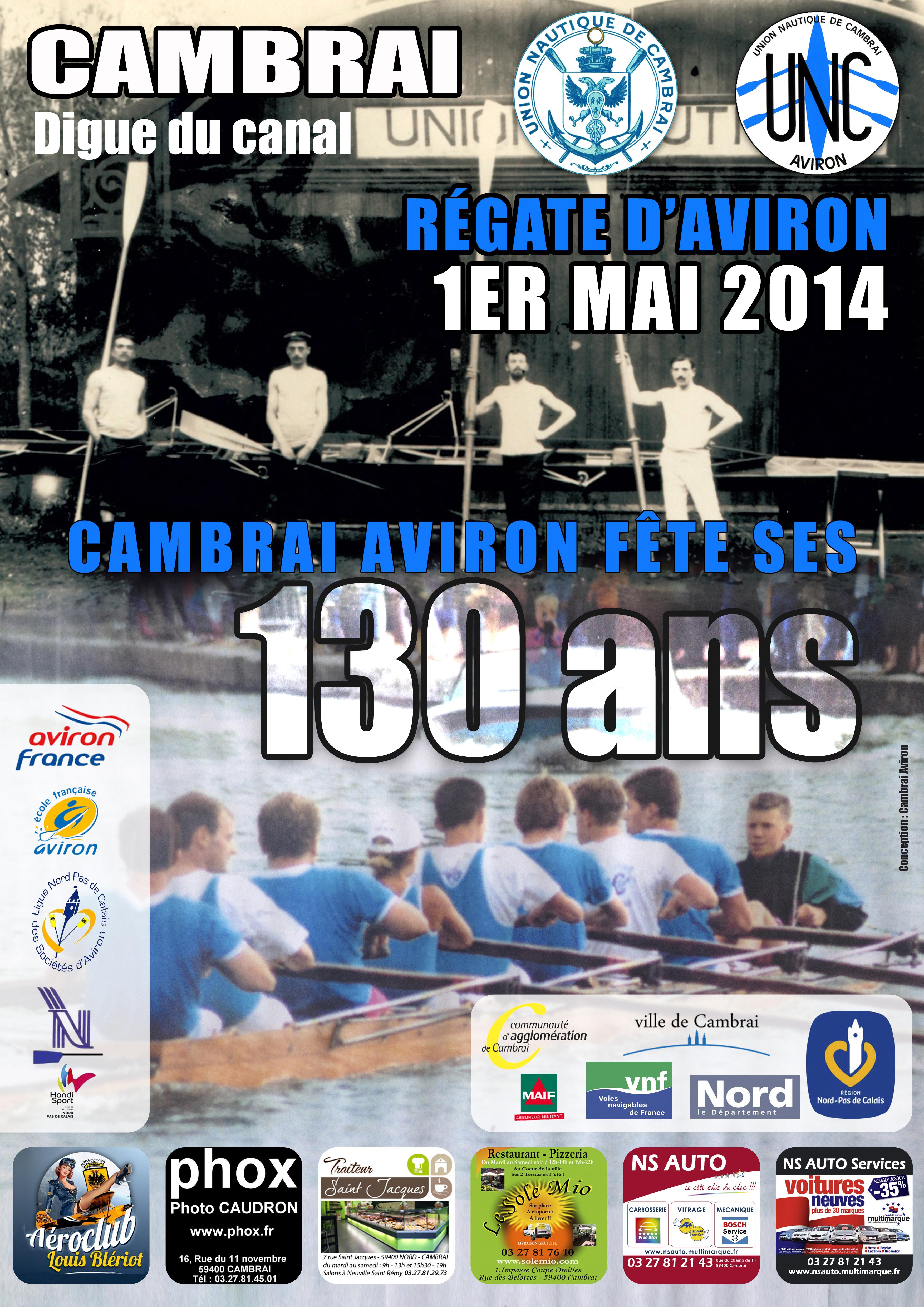 Affiche Régate Aviron Cambrai 2014