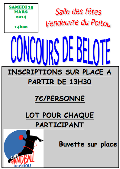Concours belote 15 mars 2014