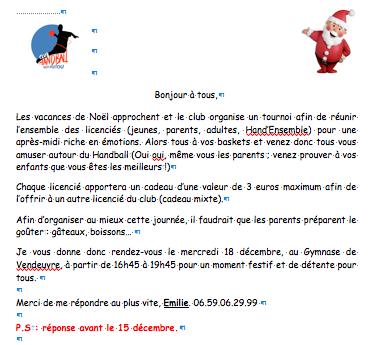 Flyer tournoi de Noël 2013