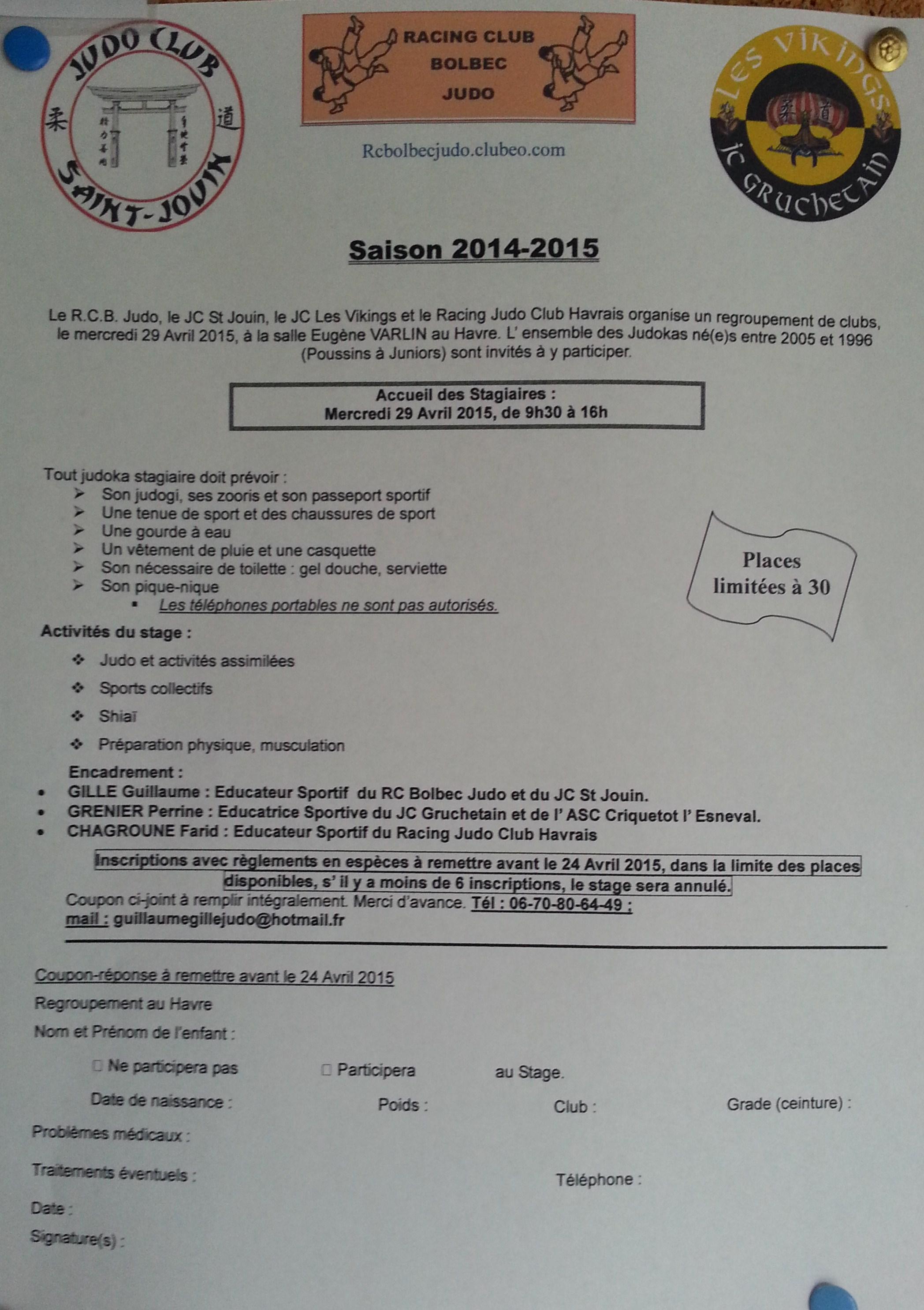 stage de poussins(ines) à juniors du 29 avril 2015 au rjch