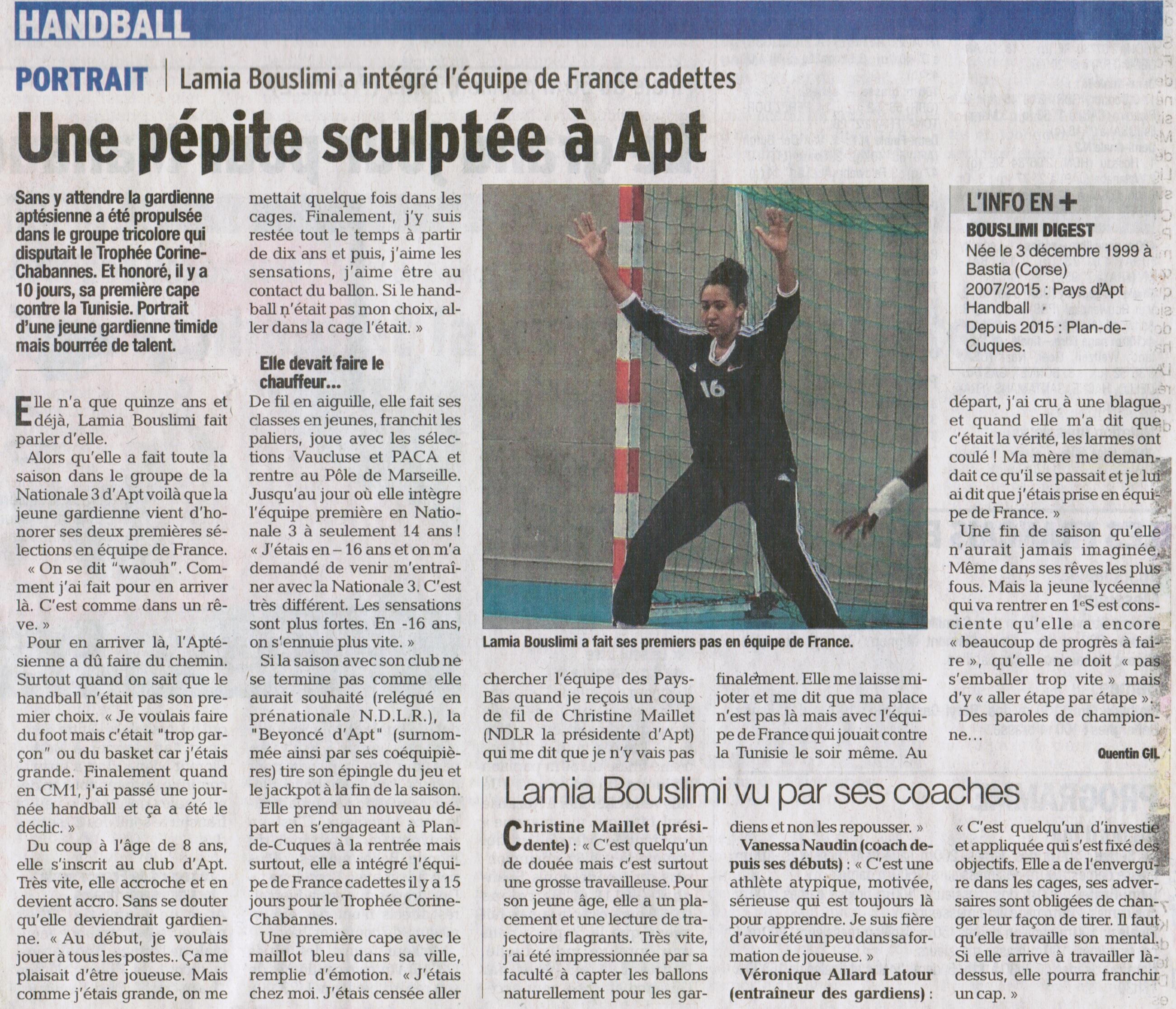 Portrait de LAMIA BOUSLIMI  dans le journal Vaucluse Matin du 03-08-2015 par Quentin GIL