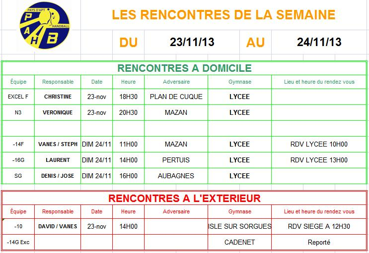 Planning week-end du 23 et 24 Novembre 2013