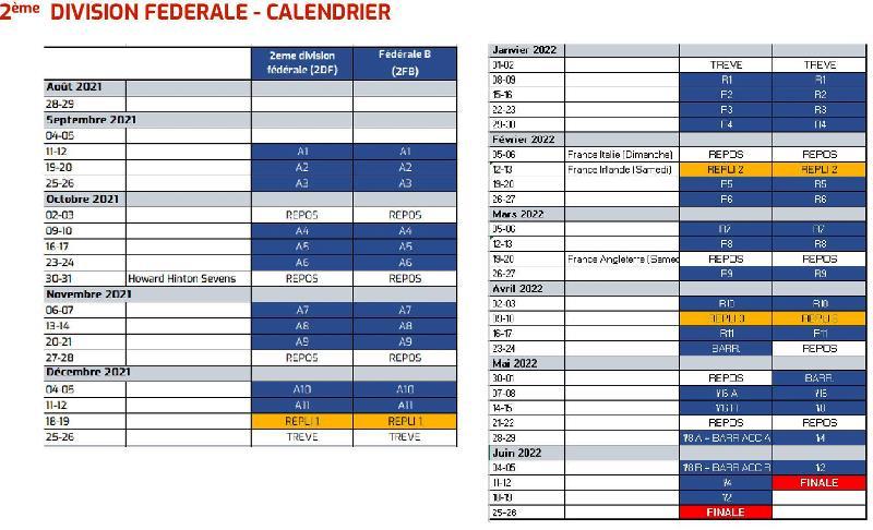 Calendrier Federale 3 2022 Actualité   SAISON 2021/2022 FEDERALE 2   FEDERALE 3   club