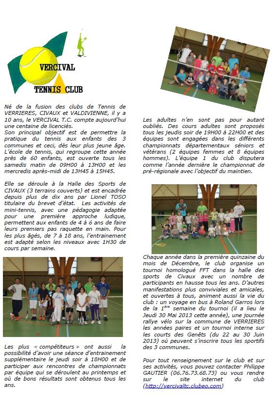 Article pour bulletin municipal Civaux Janvier 2013